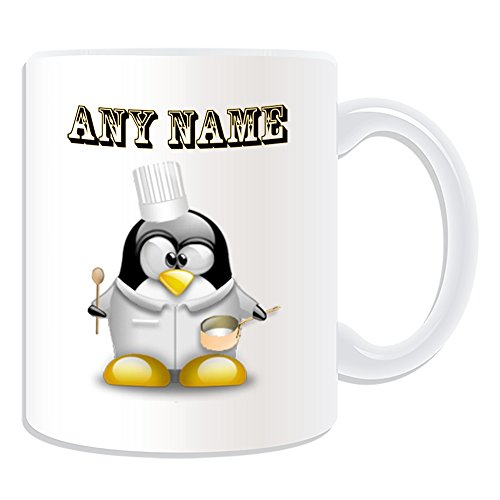 (Personalisiertes Geschenk–Chef mit Löffel Tasse (Design Pinguin in Kostüm Thema, weiß)–Jeder Name/Nachricht auf Ihr Einzigartiges–hat)