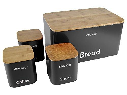 Homestyles Holz Top (Top Qualität Set Tee Kaffee & Zucker Kanister und Elegant Trendiger Brotkasten mit Holzabdeckung (Schneidebrett) Küche Lagerbehälter Töpfe Aufbewahrungsglas Bambus hölzern (SCHWARZ))