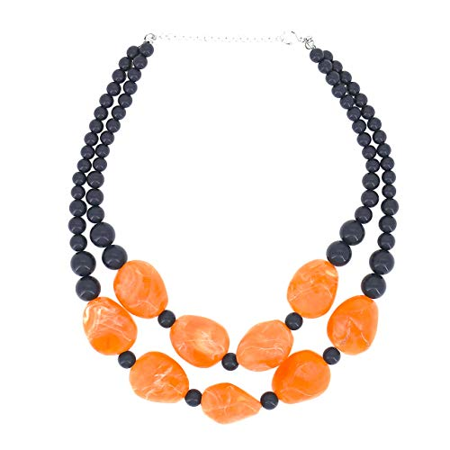Mode Schmuck Orange Perlen Kette Kurz Erklärung Klobig Halskette für Frauen