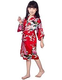 AXIANQI Pavo Real para Niños Camisón De Verano, Sección Delgada, Satén, Chaqueta Larga Japonesa, Ropa para El Hogar A (Color : Red,…