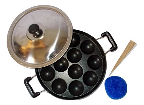 Peacock12 Pits Appam Maker Appa Chetty Paniyaram Pan Patra with Steel Lid-2.6 MM  available at amazon for Rs.449