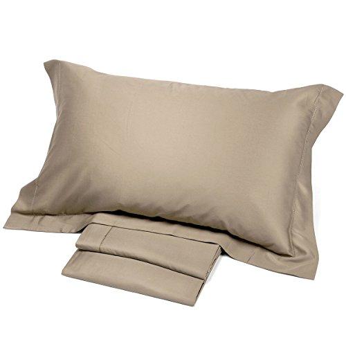 Corredo italiano satin® - completo lenzuola matrimoniale tinta unita in raso di puro cotone con o.g (tortora)
