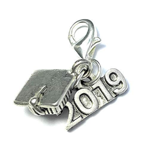 Graduation 2019 ~ Doktorhut - Doktorhut Clip auf Charme mit 2019 Charme mit 3 Geschenk Option von Libby 's Market Place, metall, multi, Organza Gift Bag (Hut Box Graduierung)