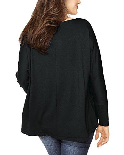 Jusfitsu Femme T-Shirt Longue Lâche 2 en 1 Tops à Manches Longues Deux-Pièces Tops Asymétrique Grande Taille Noir