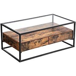 VASAGLE Table Basse de Style Industriel, Plateau en Verre trempé, 2 Tiroirs, Tablette Rustique, Table de Salon décorative, Armature en Fer Rigide LCT31BX