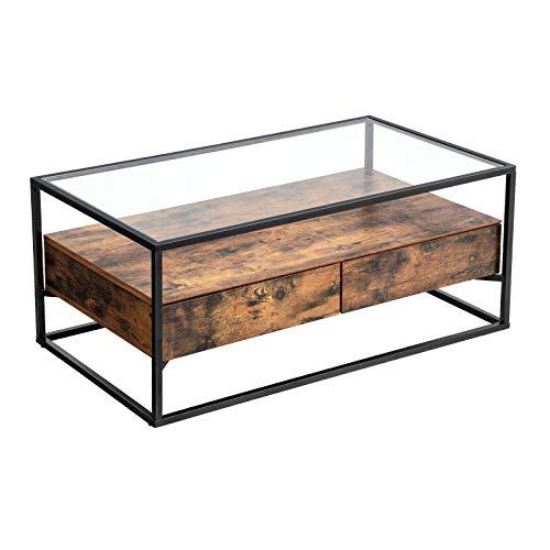 VASAGLE Couchtisch im Industrie Design, Wohnzimmertisch, Glastisch mit 2 Schubladen, Kaffeetisch, Sofatisch, Lounge Deko, gehärtetes Glas, stabil, Vintage LCT31BX -
