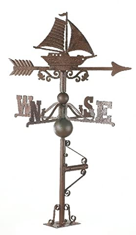 Rustic Cast Iron Sail Boat Weathervane - INCLUDES FREE INSTALLATION KIT - Various Sizes (Large)