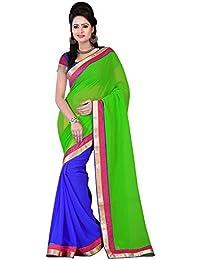 Om Designer Half-Half Chiffon Women's Saree with Blouse Material