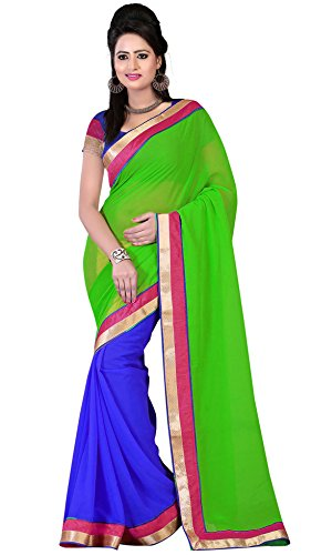 Om Designer Half-Half Chiffon Women's Saree with Blouse Material (Green-Blue)  available at amazon for Rs.299