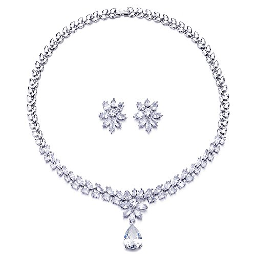 COOLSTEELANDBEYOND Hochzeit Braut Partei Abschlussball Marquise Zirkonia Blumen Träne Statement Anhänger Halskette Ohrringe Set -
