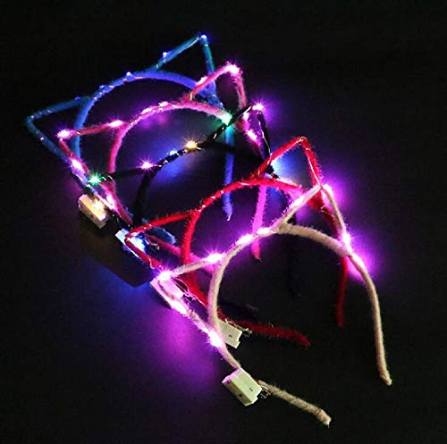 KODORIA 5-Pack LED Light Up Cat Ear Headbands Glowing Cats Crown Hairband Hair Hoop Hairband Hair Accessories for Party and Daily Decoration