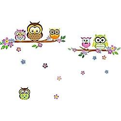 denoda® Eulen, Äste und Blumen - Wandsticker (Owl Wanddekoration Wohndeko Kinderzimmer Babyzimmer Jugendzimmer Wohnzimmer Wand Aufkleber niedlich süß Baum Flower Vogel Zweig schön cute Wandbild selbstklebend)