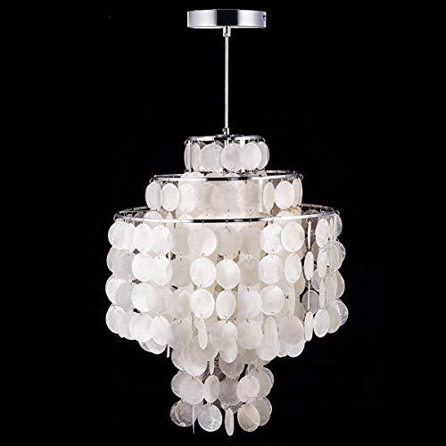 L.W.SURL Moderne nordische weiße biologische Muschel, die hängende Lichter der Lampen-Befestigungs-E14 LED for das Haushalts-Deko-Schlafzimmer-Leben hängt (Farbe : Kaltes Weiß, Größe : AC 110V) -
