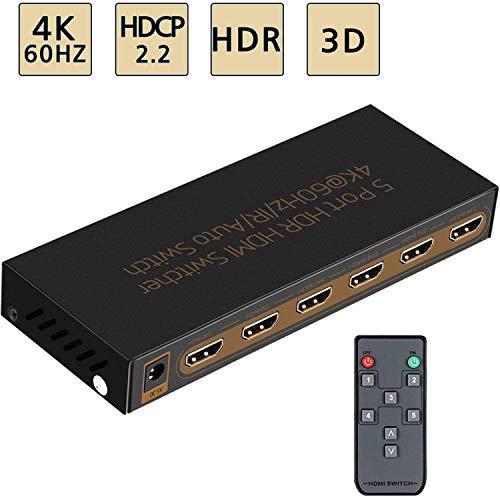 Awakelion HDMI-Umschalter (4 K @ 60 Hz, 5 x 1 HDMI, 5 in 1 Ausgang, mit IR-Fernbedienung, Auto-Switch, HDCP 2.2, UHD, Full HD/3D, HDR (Cast Hub)