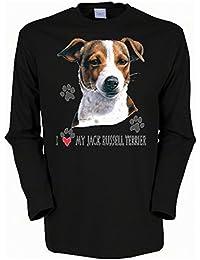 Hunde mit Herz Jack Russel Terrier Langarmshirt Herren in schwarz
