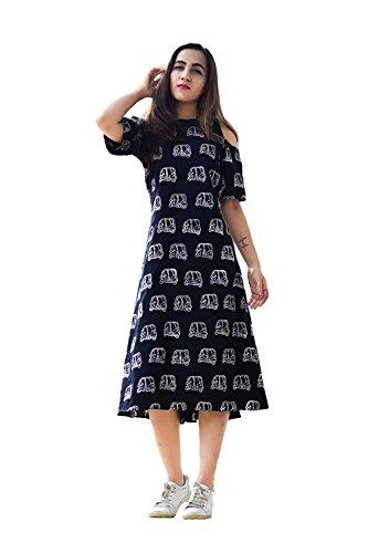 Suppar Sleave Women's Cambric Cotton Printed Dress (BLACK, L)