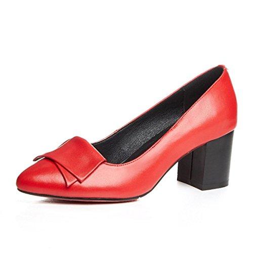 WSS chaussures à talon haut Chaussures peu profonds de hauts talons chunky Jurchen. le nez et explosions chaussures de mode de Joker speed red