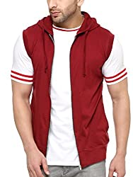 Gritstones Stylish Maroon Cut Sleeve Hooded Jacket GSCUTHD1348MRN_S
