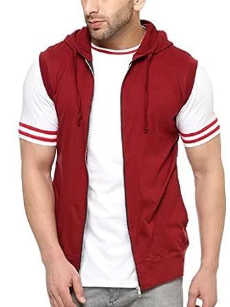 GRITSTONES Men's Cotton Cut Sleeves Hooded Jacket