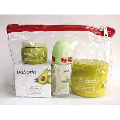 babaria Twenty aguacate Cuidado Facial & Crema Corporal & Aloe Vera Desodorante Roller Set de regalo