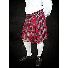 Roja Kilt con buntem Tartan cuadros escoceses LARP Rock Medieval Vikingo S–XXL) rojo Talla:small