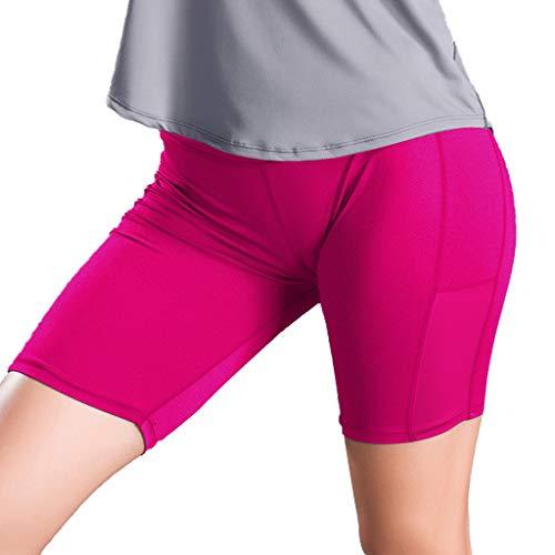 Xmiral Leggings Donna Fitness Corti Pantaloncini da Yoga a Tre Punte con vestibilità Attillata e Attillati M Rosa Caldo