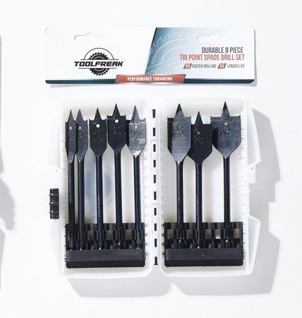 ToolFreak Holz Bohrer Bits Flach Spaten Bohrer Set 8 Stück mit KOSTENLOSEM Bonus Geschenk Größen 12mm 16mm 18mm 20mm 22mm 25mm 28mm 32mm