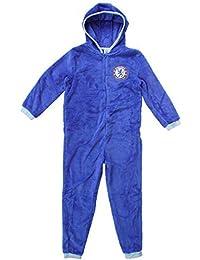 garçons OFFICIEL CHELSEA CFC à capuche polaire fermeture éclair pyjama barboteuse combinaison tailles de 3 pour 12 An
