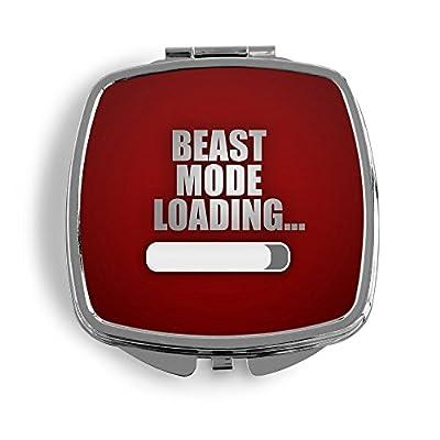 Beast Mode Loading... Rot Metall Taschenspiegel Kosmetik Beauty Spiegel Klappbar Bedruckt Spanien Spruch Vintage Fun Zitat Quote