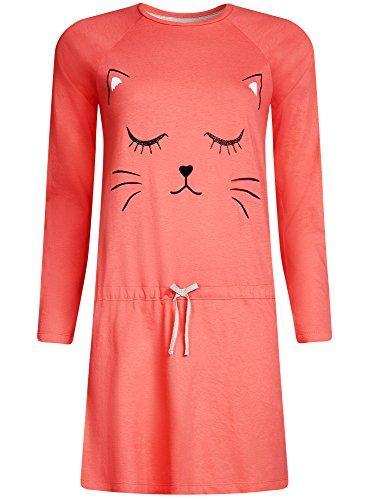 oodji Ultra Femme Robe d'Intérieur en Coton Imprimé Rose (4329P)