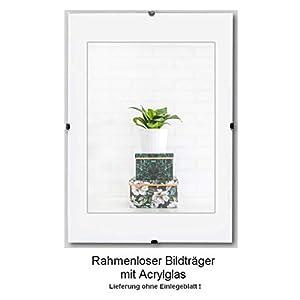 Clippo Rahmenloser Bildhalter Posterrahmen Cliprahmen 40x100 cm Grössenwahl 100x40 cm mit klarem 1mm Kunstglas