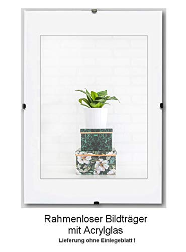 Clippo Rahmenloser Bildhalter Posterrahmen Cliprahmen 37,5x98 cm Grössenwahl 98x37,5 cm mit klarem 1mm Kunstglas