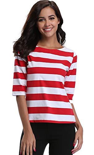 Gestreiftes Tshirt Damen Kurzarm Casual Tops Sommerblusen Tuniken Basic Shirt Rot/Weiß - M