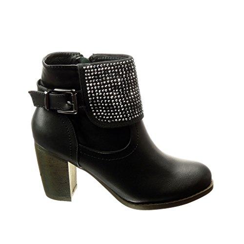Angkorly - damen Schuhe Stiefeletten - Abend - Strass - Schleife Blockabsatz high heel 8 CM Schwarz