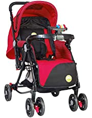 Tiffy & Toffee 3 IN 1 Baby Stroller/Pram with Reversible Handle, 0-3 Yr (RED)