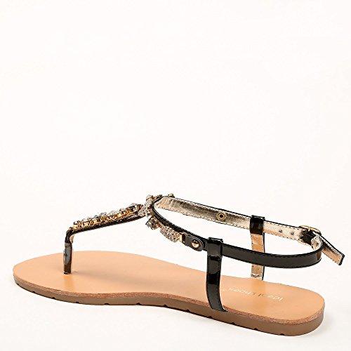 Ideal-Shoes Nu-piedi effetto smalto e strass incastonati Venusia Nero (nero)