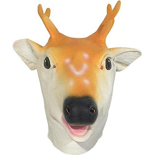 ZhujiaN Pista de los Ciervos Tocado el Rendimiento máscara de Partido de los apoyos del Traje de Halloween (Color : Yellow, Size : One Size)