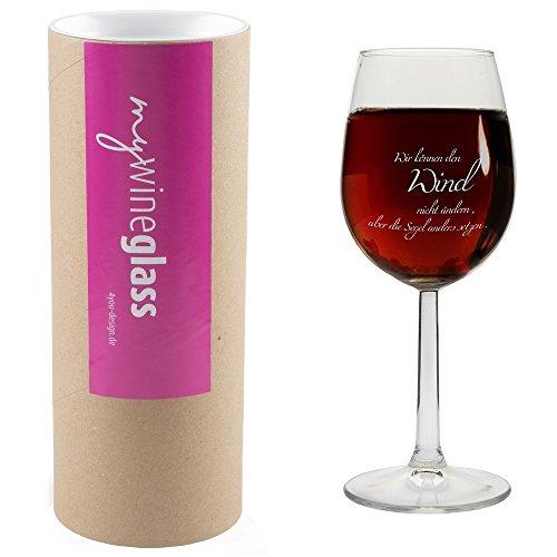 Weinglas MIT GESCHENKBOX 'Wir können den Wind nicht ändern, aber die Segel anders setzen.',...