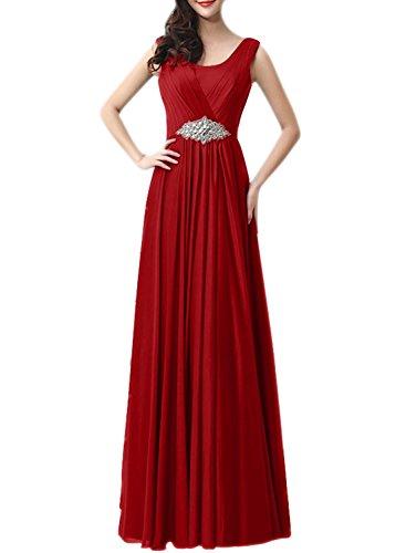 AZBRO Damen Schickes Blumenmuster Off-Schulter Organze Maxi Kleid Dark Red