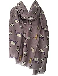 Purple Possum Cats Scarf, Purple Cat Print Wrap Purple Possum Siamese Cats Tabby Cat, Grape Shawl