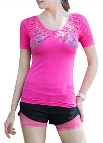Gogofuture Femmes Respirante Ajouré T-Shirt de La Mode Sportive Decontractee Course A L'Exterieur T-Shirt A Sechage Rapide A Manches Courtes Yoga T-Shirt red