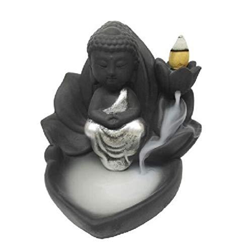 KERALA Incensario Cascada con Buda meditando en Flor de Loto, se Utiliza con un Cono Perforado. Viene con 6 Conos.