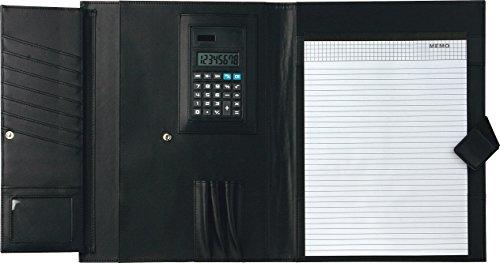 Cartella portadocumenti portablocco A4 con calcolatrice varie tasche