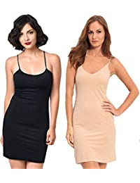 7e8c47c9023e20 Viceroy Enterprise SFH016 Combo of Skin and Black Colour Seamless Long Cami  Fitted Slip with Spaghetti