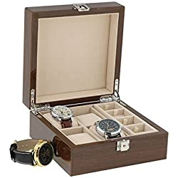 Lacquered Walnut Watch and Cufflink Collectors Box for 4 Wrist Watches plus 4 Pairs Cufflink by Aevitas