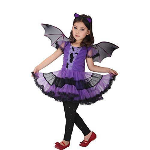 Mädchen Fledermaus Cosplay Kostüm für Halloween Karneval Fasching 120-130cm