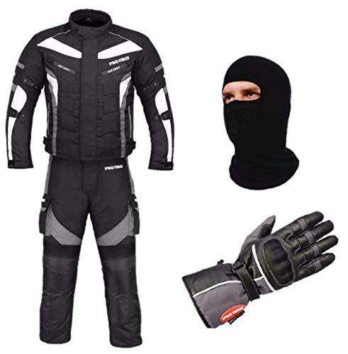 PROFIRST Wasserdichtes Motorrad Klage Gewebe (Jacke + Hose + Handschuhe + Balaclava) Motorrad CE gepanzerte Kleidung für alle Wetter - 6 Packs Entwurf - Grau/Grey - X-Large -