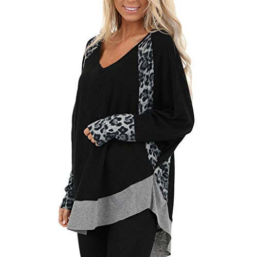 PYUIYY Mode Damen Frauen Leopardenmuster Langarm SpleißEn Casual Tops Patchwork Pullover