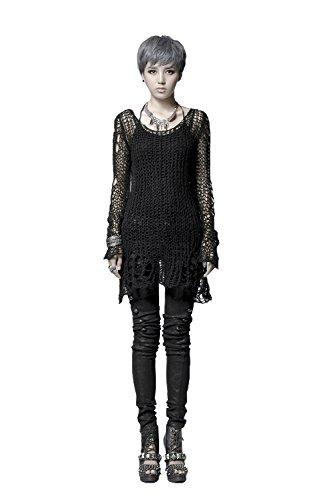DEVIL SHACKLES Damen Punk Löcher Lange dünne Kint Gothic Rundhals Pullover Langarm Top Pullover Schlanke Strickpullover -