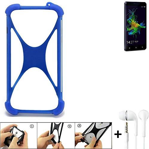 K-S-Trade Bumper für Allview P8 Energy Mini Schutzhülle Handyhülle Silikon Schutz Hülle Cover Case Silikoncase Silikonbumper TPU Softcase Smartphone, Blau (1x), Headphones